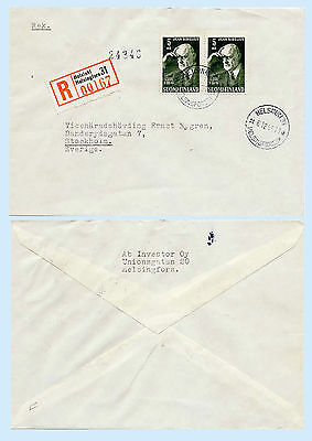 Finland 1945 Registered First Day Cover FDC to Sweden Jean Sibelius #249 Music