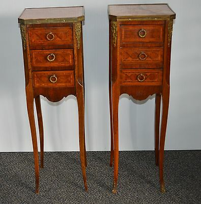 French Art Nouveau Marble Top Inlaid Wood Nightstand/Bedside Table Set of 2