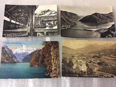 Switzerland. 4 old postcards.  Please see photos for description