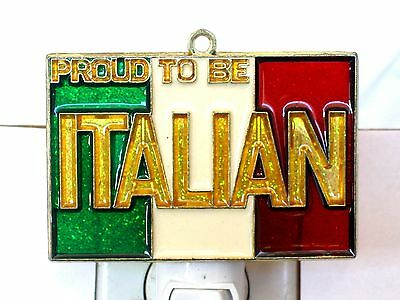 "Stained Glass Style ""proud To Be Italian"" Flag Night Light For All-New!"