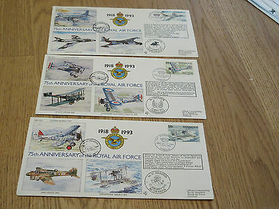 3x FDC Stamps Barbados 1994 75th Anniversary of the Royal Air Force 1918-93