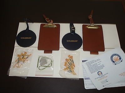 Longaberger Golf Club Leather Bag Tags & Score Tags Pewter Tie On Wood Tees New