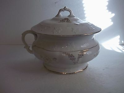 VINTAGE White Victorian Gold Floral Pottery China CHAMBER POT & Cover KT&T 1890s