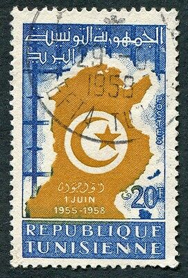 TUNISIA 1958 20f brown and blue SG464 used NG #W1