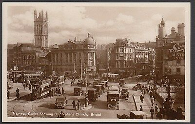 Postcard Bristol Avon animated Tramway Centre with St Stephens Church RP