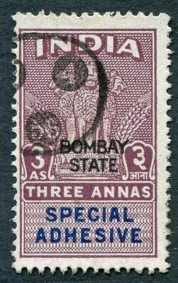 INDIA Bombay State 3a SPECIAL ADHESIVE Revenue/Fiscal #W14