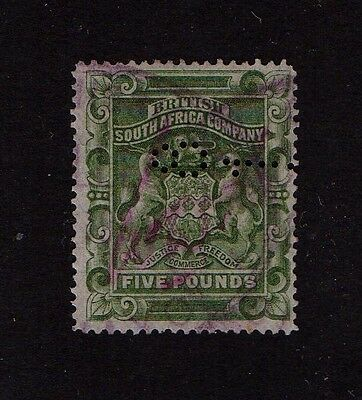Rhodesia  British  South  Africa  Company  Five  Pounds  Fiscal