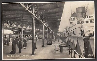 Postcard Holyhead Isle of Anglesey the Arrival of Irish Mail boat train Wales RP