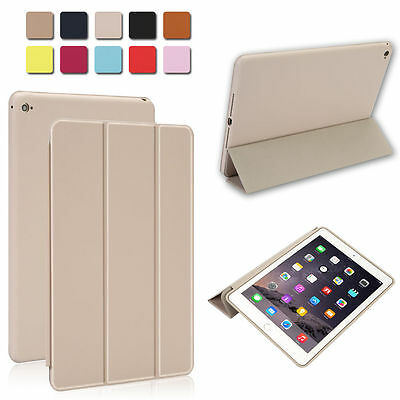 White Slim Luxury Leather Smart Cover & Rubberized Case for Apple iPad Air 2