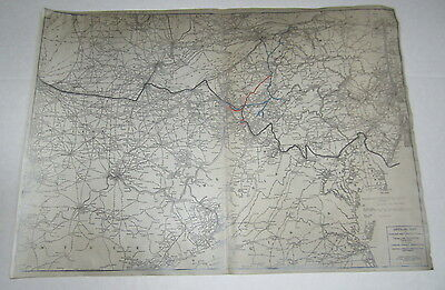 Old 1924 Trunk Line - Canadian Freight JUNCTION / Territory - RAILROAD MAP