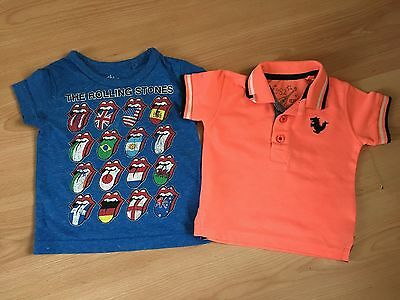 2 x Baby Boys NEXT Rolling Stones Tshirt Orange Polo Top BUNDLE Age 3-6-9 Months