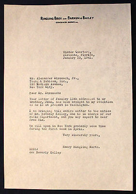 Original 1941 Ringling Bros and Barnum & Bailey Letterhead Henry Ringling North