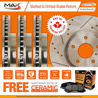 2005 2006 Mazda 3 2.3L (See Desc.) Slotted Drilled Rotor Max Pads F+R