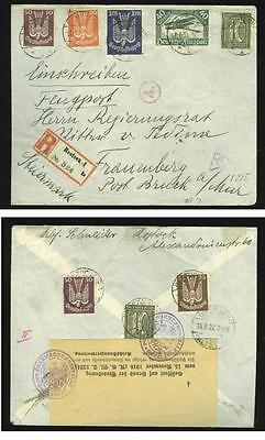 Germany: 1922 R-airmail cover, Rostock to Austria,  used stamps cat. EUR 100+