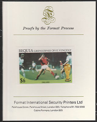 Bequia (1988) - 1986 W CUP FOOTBALL  imperf on Format International PROOF  CARD