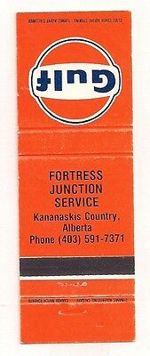 Fortress Junction Service Gulf Gasoline Kananaskis Country AB Alberta Matchcover