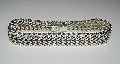 Vintage Wide Heavy Mexico Sterling Silver Woven Bracelet Signed