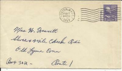 US 3c PREXY BOOKLET PANE SINGLE with PLATE NUMBER Sc#807a Boston Mass FEB/7/1951