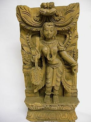 19th Century Temple Carving Wood Panel Hindu Goddess Deity with Fan Malaysia