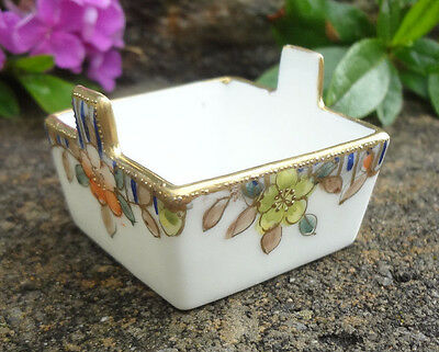 Hand Painted Square NIPPON Porcelain Open Salt Dip, Cellar, Dish!