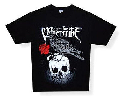 Bullet For My Valentine - Skull And Raven Black T-Shirt - New Adult X-Large Xl