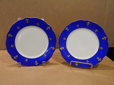 2 Hand Painted Dessert Plates w/ Fleur de Lys Blue & Gold Antique [c]