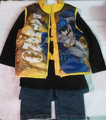 New Batman Outfit~Size 4T Zippered Vest~Long Sleeve Tee & Blue Jeans~Must See