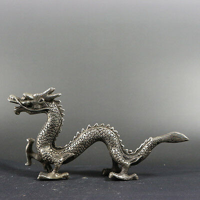 collectible china old Tibet silver dragon statue the feet with wings noble