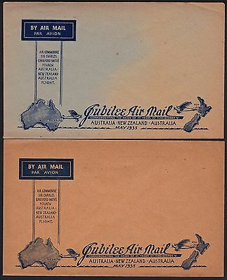 Australia 1935 jubilee Air Mail to UK unused envelopes x2 different colour