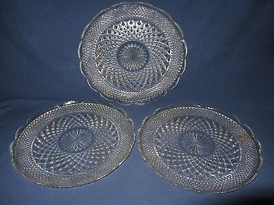 3 Vtg Pressed Glass Round Platter Serving Plate Tray Scalloped Diamond Cut Star