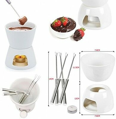 Ceramic Chocolate Or Cheese Fondue Set With Stainless Steel Forks Kitchenware