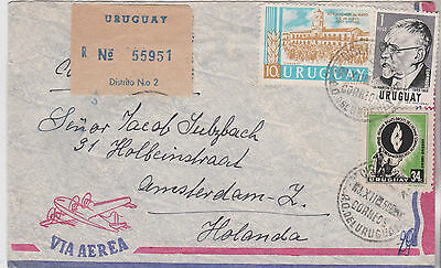 c1960s ATTRACTIVE URUGUAY STAMPS ON MONTEVIDEO AIRMAIL COVER SENT TO HOLLAND