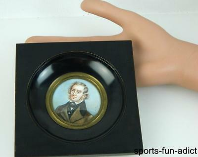 Early 1800's Signed CAMULO? Hand Painted Miniature Portrait Plaque Of Gentleman