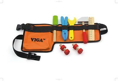 NEW VIGA WOODEN DIY TOOL BELT WITH TOOLS SET boy pretend role play toy gift