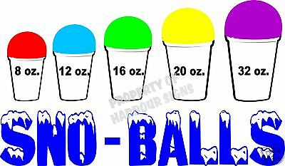"Sno-Balls Decal  7"" Sizes Snow Cones New Orleans Style Concession Trailer Cart"