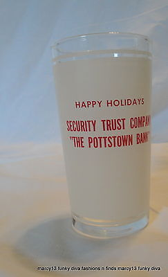 Vintage Pottstown PA Security Trust Co The Pottstown Bank Christmas Promo Glass