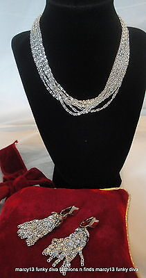 Vintage Signed Sarah Coventry Silver Cascade Necklace & Matching Clip Earrings