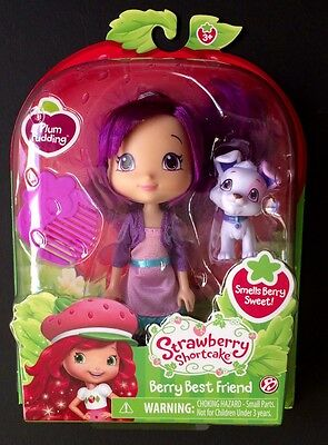 Strawberry Shortcake Scented Doll Plum Pudding with Pet Dog Pitterpatch New
