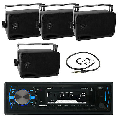 "Black PLMRB19B Bluetooth Marine USB Radio, Antenna, Black 3.5"" 200W Box Speakers"
