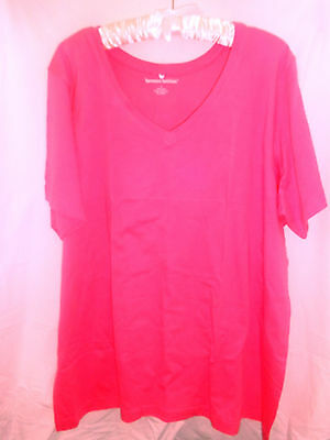 New Women's Short Sleeve T/shirt W1 X Large American Beauty Rose V Neck