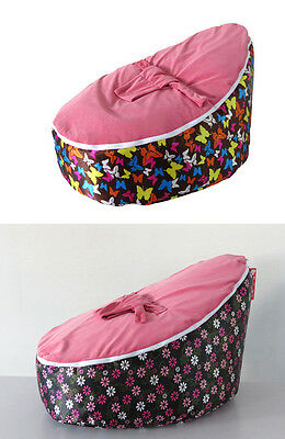 New UNFILLED Pink  2 Layer Baby Bean Bag Chair/Bed Todler Kid Portable Seat