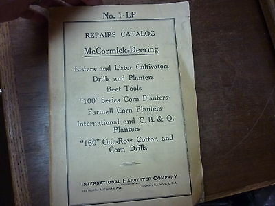 McCORMICK-DEERING REPAIRS CATALOG NO. 1-LP LISTERS CULTIVATORS BEET TOOLS  FARM