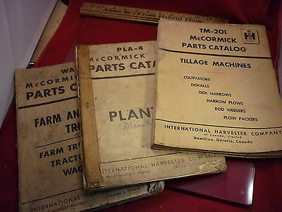 3 BOOKS McCORMICK PARTS CATALOGS TM-201 PLA-4 & WA-2 FARM TRUCKS PLANTERS TILL