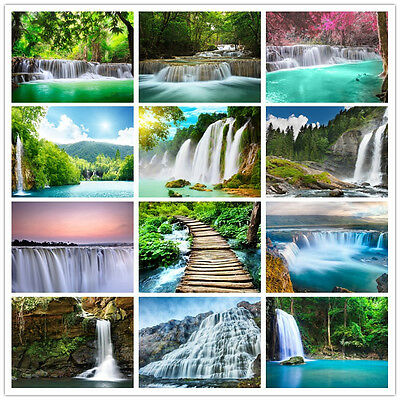 New Prepasted Mural Wallpaper Wall Covering Home Decor Waterfall Nature Scenery