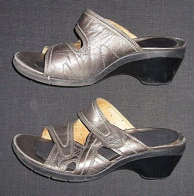 Clarks Unstructured Bronze Leather Wedge Slide Sandals Shoes Women's Size 8.5