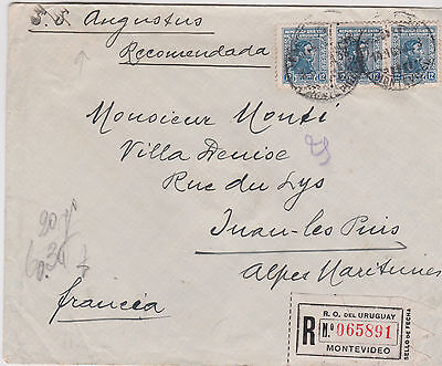 1938 Attractive Uruguay Stamps On Montevideo Cover To France Per Ss Augustus