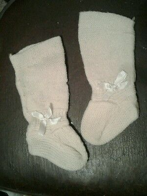 Vintage Knit Baby or Doll Long Socks Cream Colored with Bows