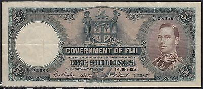 Fiji - 1951 5/- Government Of Fiji Bank Note VF