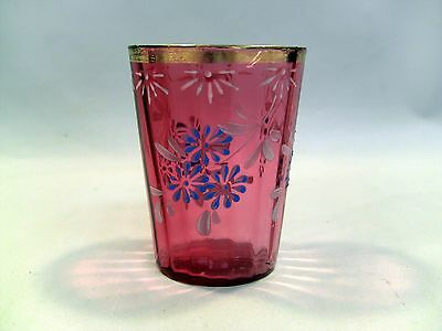 ~! Antique Victorian Blown Cranberry Pink Glass Tumbler Cup Hand Enameled
