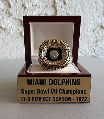 Super Bowl VII Champions MIAMI DOLPHINS 1972 18K RING & Custom Display un signed